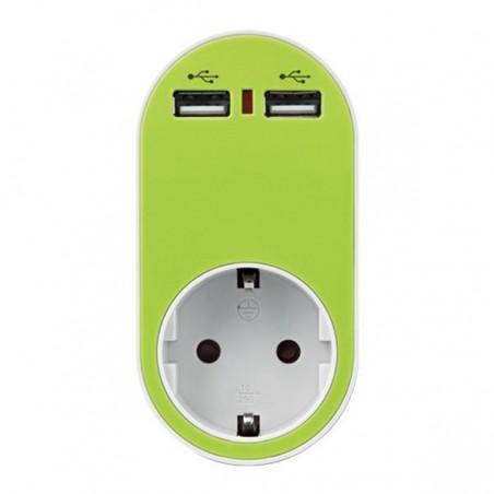 ΑΝΤΑΠΤΟΡΑΣ ΣΟΥΚΟ ΜΕ 2 USB ΠΡΑΣΙΝΟ ΜΕ ΠΡΟΣΤΑΣΙΑ ΕΠΑΦΩΝ 147-09012