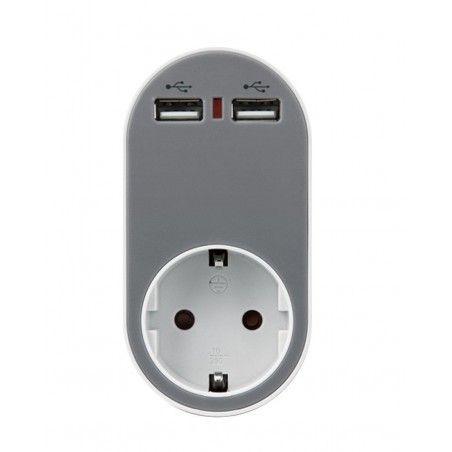 ΑΝΤΑΠΤΟΡΑΣ ΑΣΦΑΛΕΙΑΣ ΣΕ ΣΟΥΚΟ ΚΑΙ 2 USB 5V 2.4A EUROLAMP ΣΕ ΓΚΡΙ 147-09010