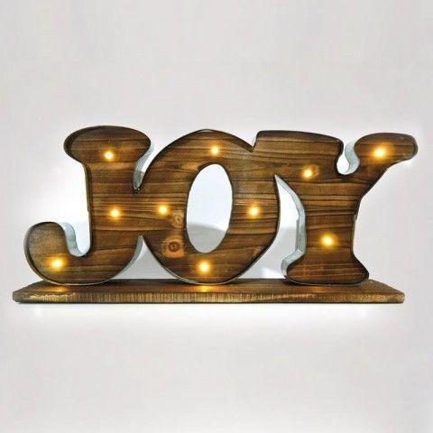"""ΞΥΛΙΝΗ ΕΠΙΓΡΑΦΗ """"JOY"""", ΦΩΤΙΖΟΜΕΝΗ, 50X9X23 ΕΚ 600-40138"""